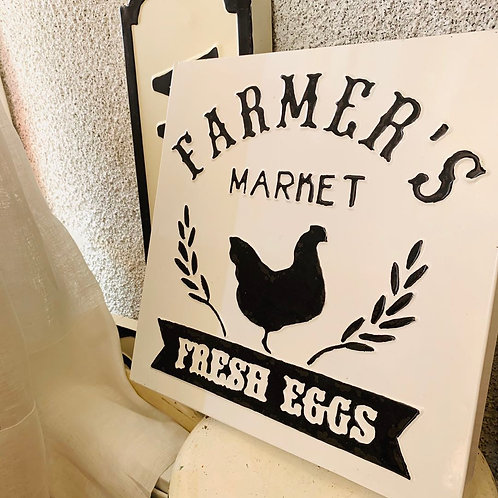 Enamel Wall Sign - Farmer's Market Fresh Eggs (With Chicken)