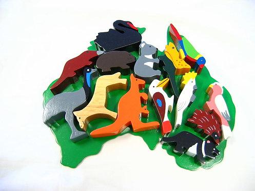 Australian Animals Block Play Set with Map back 14 Piece