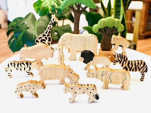 Wooden African Safari Animals 12p Extra Large