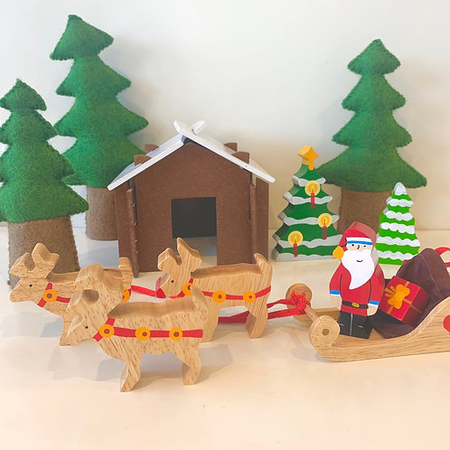 Wooden Christmas House with Reindeer Set