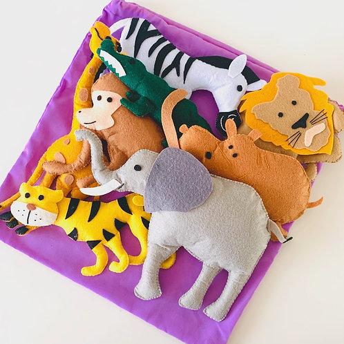 Felt Safari Animals 8pc with bag