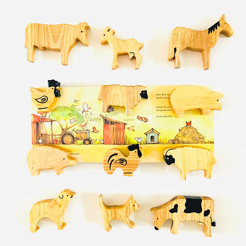 Wooden Farm Animals 12p Extra Large