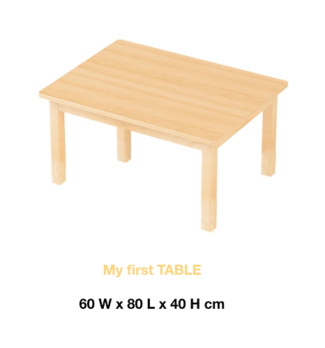 Montessori my first TABLE (6 - 30 months) solid European beech Wood 60 x 80cm