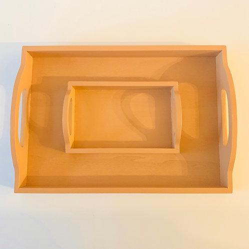 Montessori Tray Set of 2 With Handle — Nude