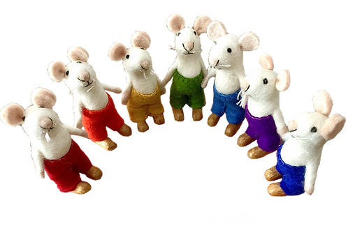 Papoose Flexible Rainbow Mice Set of 7