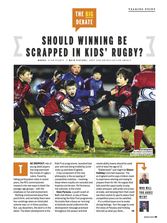 An article on winning in children's sport - the children are the losers!