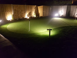synthetic putting green a night
