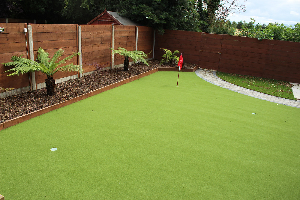 Synthetic Putting Green and Tee Box in Garden