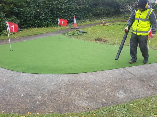 Practice Green being installed