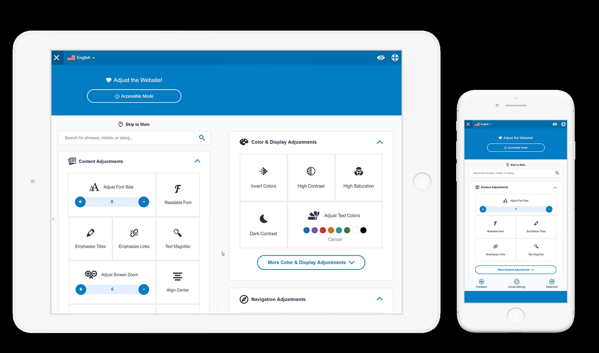 Tela de configuração do site acessível