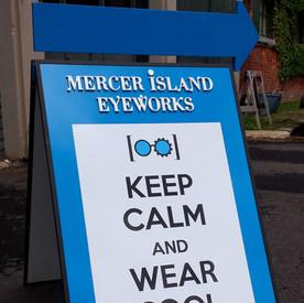 Mercer Island Eyeworks sandwich board