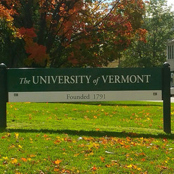 University of Vermont on the green sign