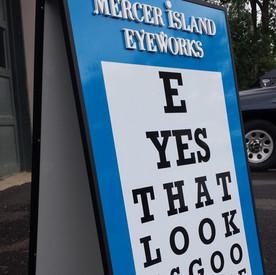 Mercer Island Eyeworks sandwichboard for