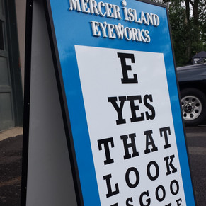 Mercer Island Eyeworks sandwichboard for
