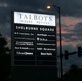 Talbots Plaza Sign at Shelburne Plaza