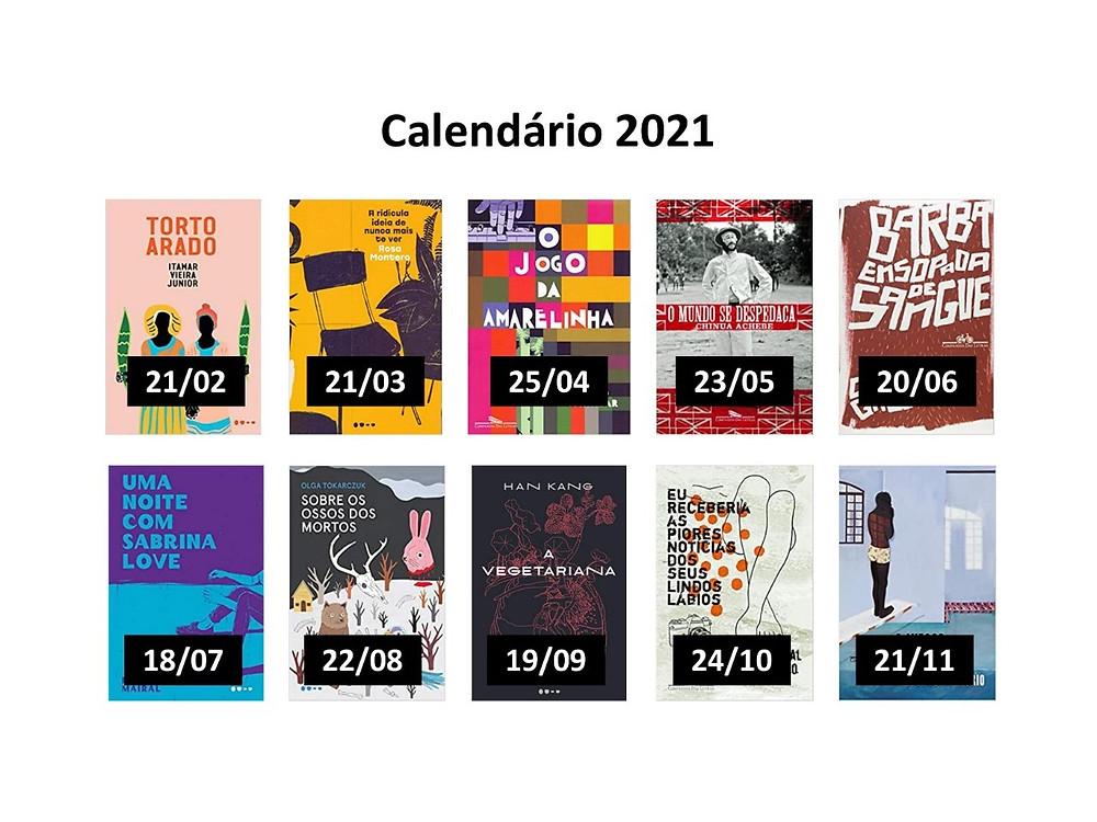 Calendário de leituras e encontros do clube Ficcionistas na Mário.