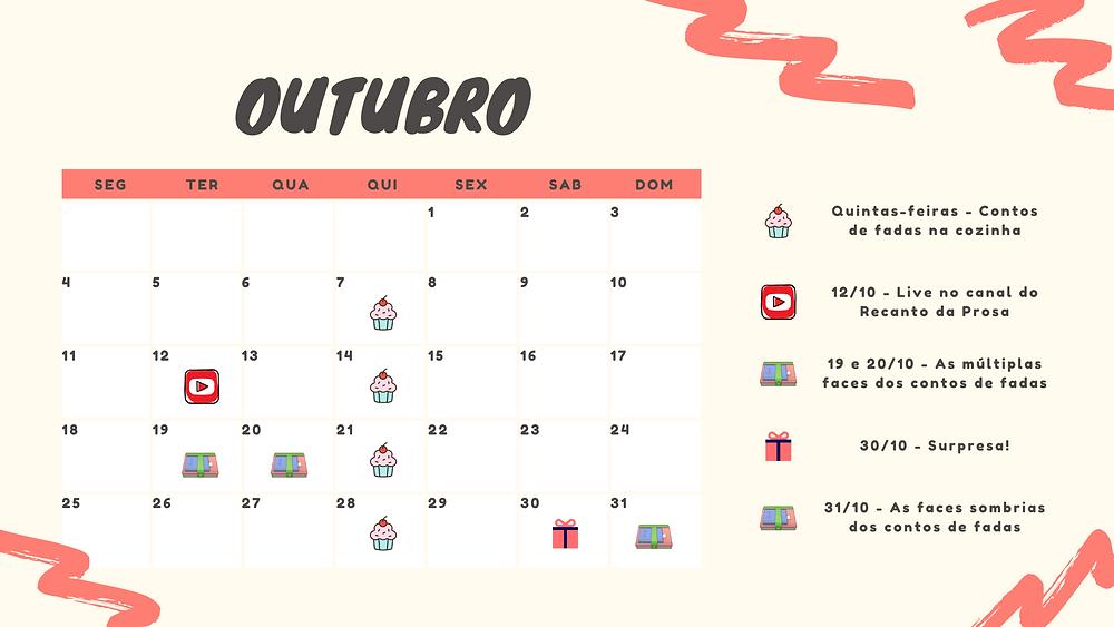 Calendário de atividades do Recanto da Prosa