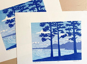 Through the Pines, a woodblock print by Nan Onkka