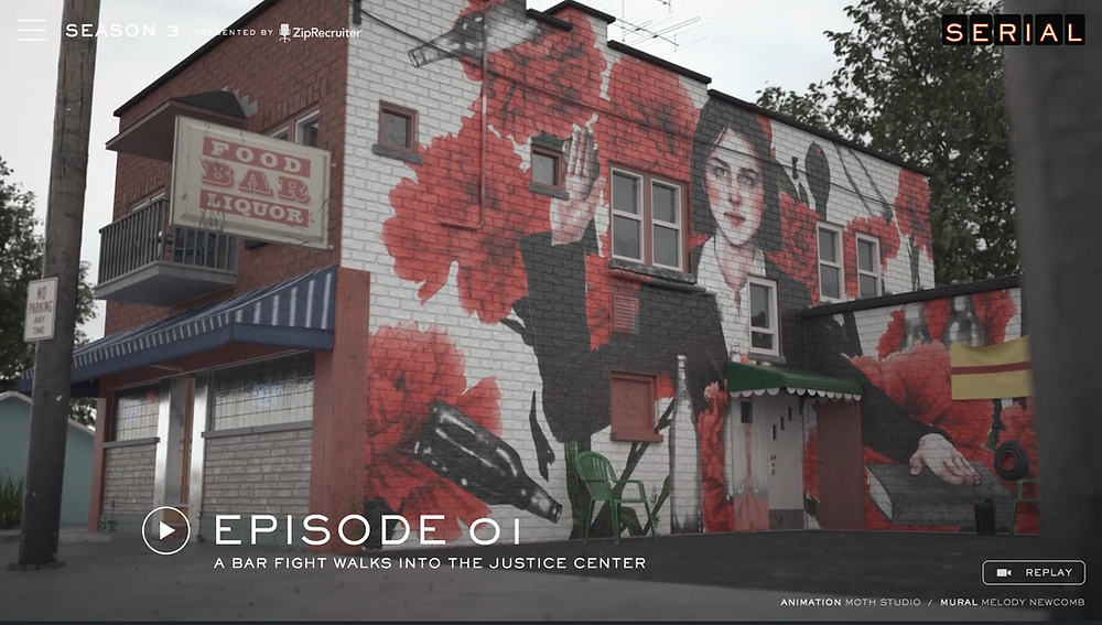Inspired by that art as well as murals in other cities, Serial commissioned six artists to create an illustration for each episode that we could then superimpose onto each setting.