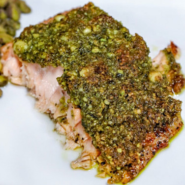 Pistachio Pesto Crusted Salmon