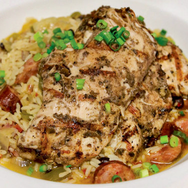 Jerk Chicken with Beans and Rice