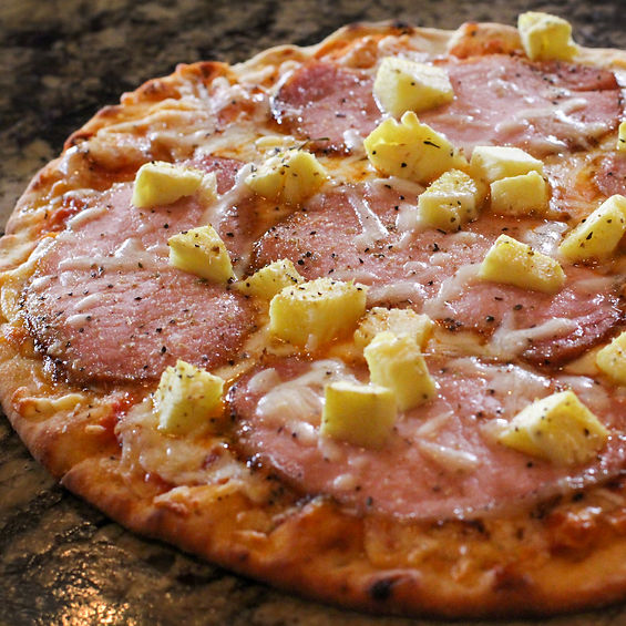 Pineapple and Canadian Bacon Naan Pizza