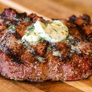 Reverse Sear Ribeye with Herb Butter