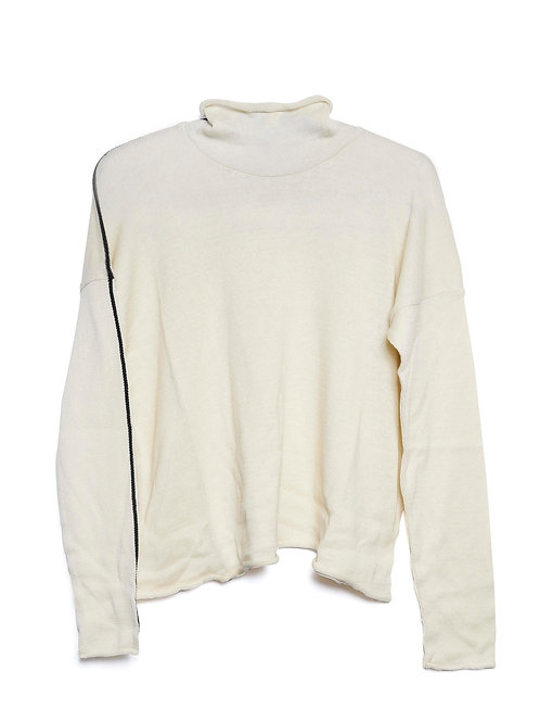 Cream Side Stripe Knit