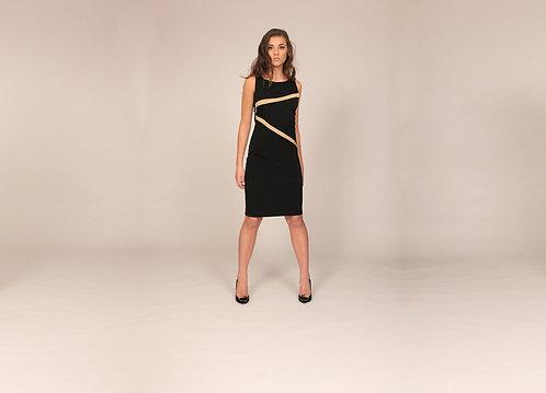Black Silk & Nude Cutout Dress