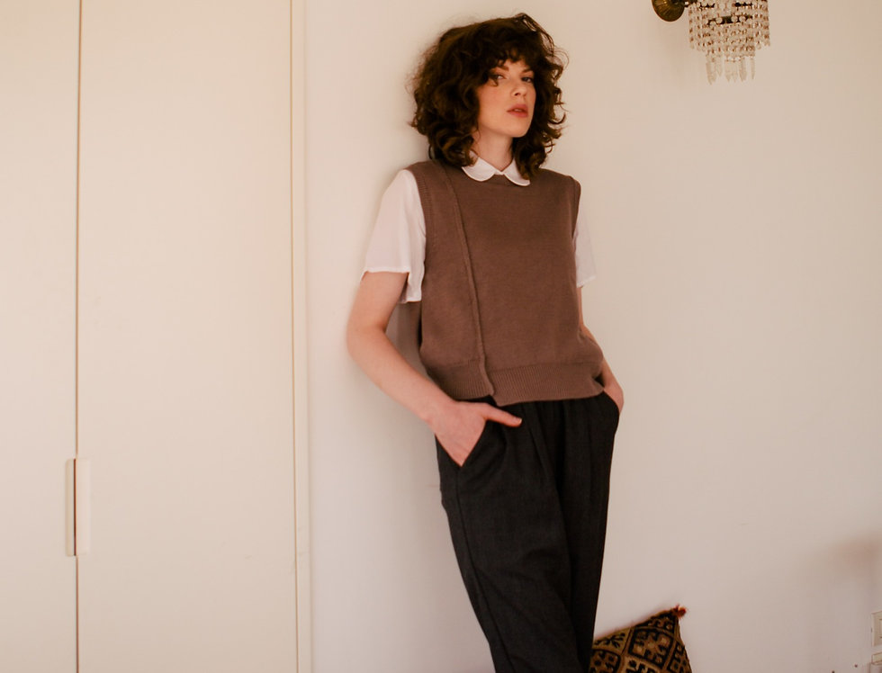 Maya Long Brushed Cotton Trousers