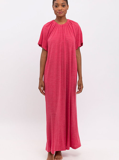 Fuchsia Elastic Collar Dress