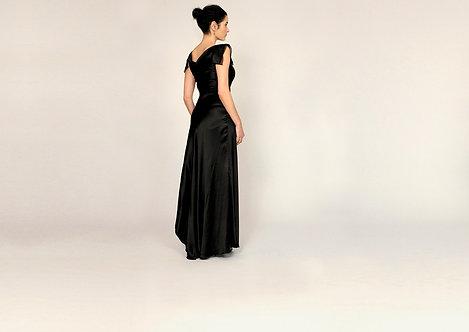 Silk Gown Layered Cap Sleeve