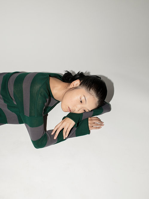 Green and Gray Stripes Knit