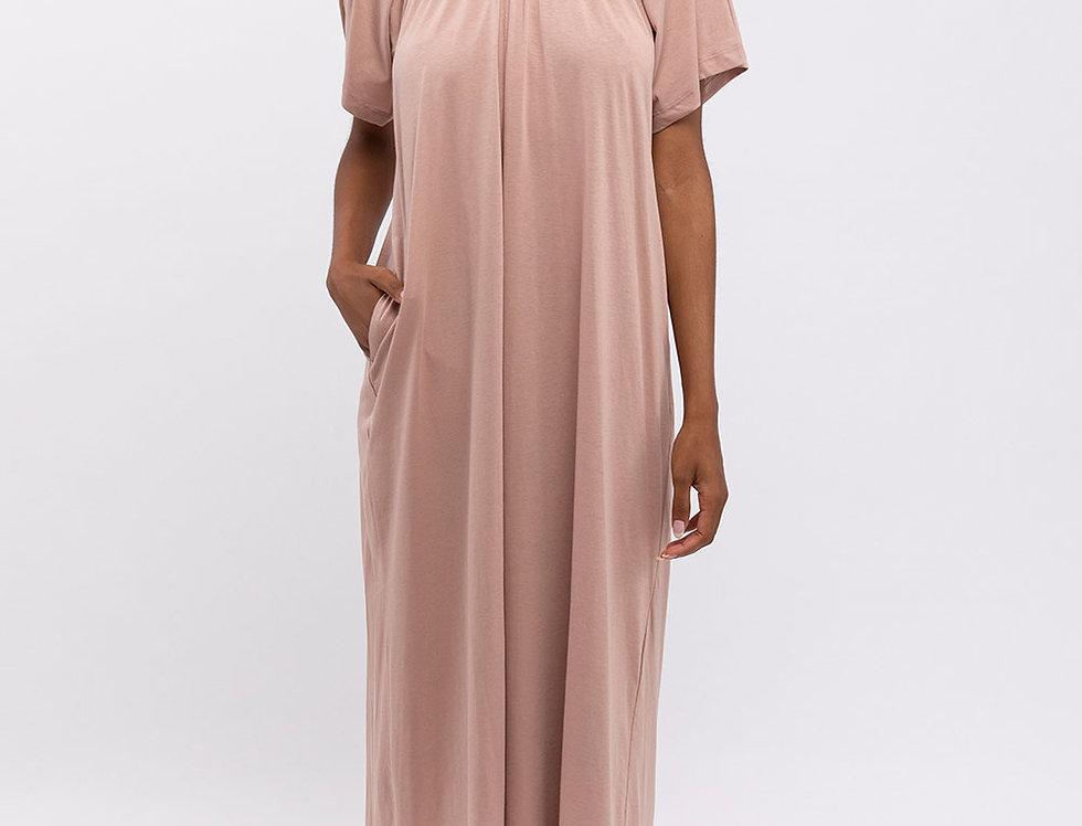 Rose Elastic Collar Dress