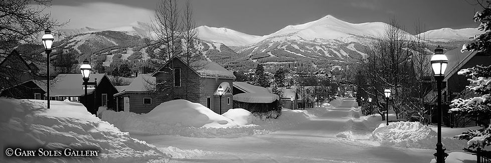 High St Pano BW, breckenridge, colorado winter, downtown breckenridge, black and white, panoramic, gary soles