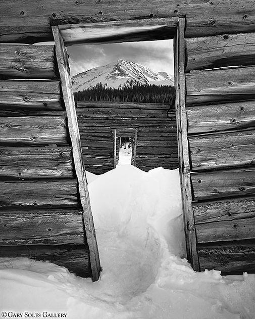 winter cabin doors, aspen, mining cabin, gary soles, gary soles gallery, black and white, film