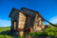 Palouse School House, barn, timeless structures, blue sky, washington, farm, farm lands, grass lands, gary soles, gary soles gallery