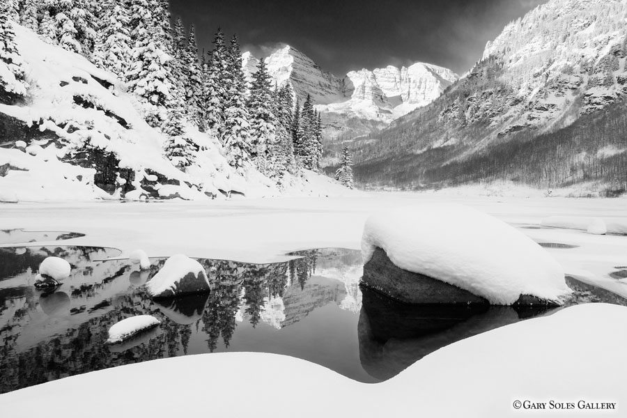 Maroon Bells Reflect BW