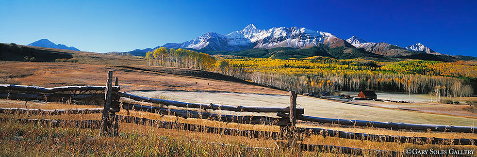 mount wilson, wilson mesa ranch, telluride, colorado, gary soles gallery, gary soles, ranch, fence