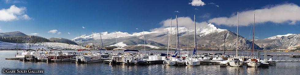 Lake Dillon Marina Pano, lake dillon, peak one, summit county, sailboats, ten mile range, dillon