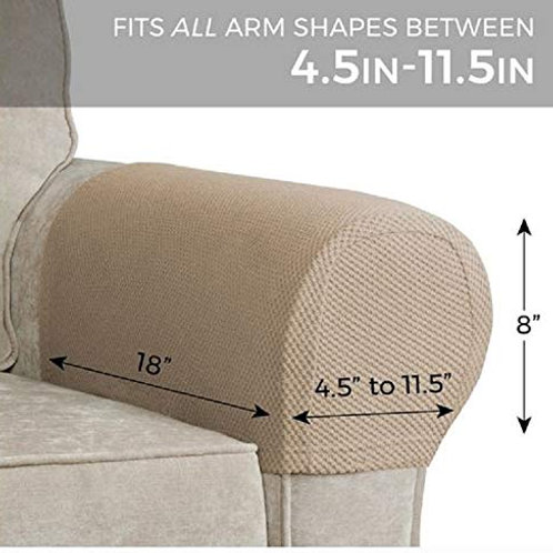 GetSet2Save Set of 2 Stretch Armrest Covers (Tan)