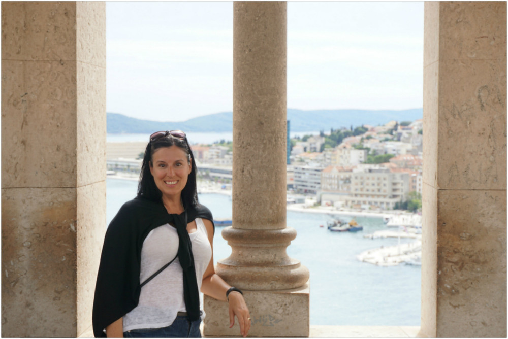 Me (Cora) with view of Split Harbor - Split - Croatia [photo courtesy of B. Ketcheson]