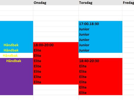 Nye treningstider fra 19. April