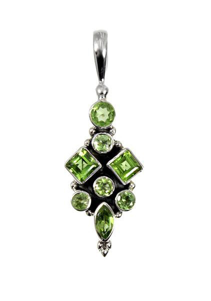 Peridot gemstone sterling silver pendant gemstone jewelry 925 sterling silver pendant has a cluster of eight peridot gemstones in marquise round and square cut shapes custom designed by us this larger size mozeypictures Gallery