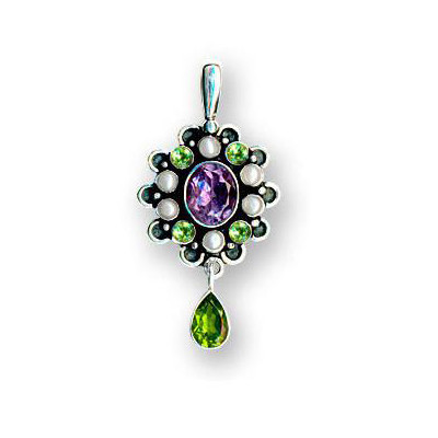 Suffragette style amethyst peridot designer pendant aloadofball Image collections