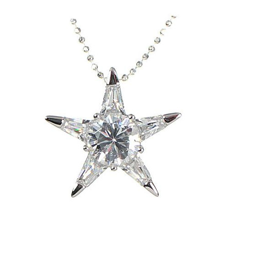 Star cz sterling silver pendant necklace gemstone jewelry star shape cz pendant necklace sterling silver aloadofball Image collections