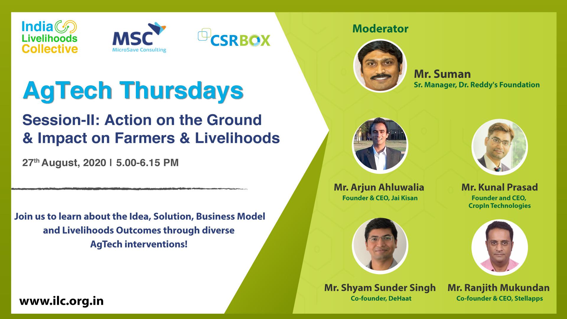 AgTech Thursday II: Action on Ground & Impact on Farmers & Livelihoods