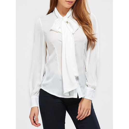 WHITE BOW NECKTIE LADIES DAPPER BLOUSE