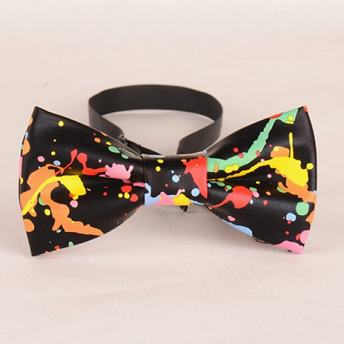 Dapper Abstract Leather Bow Tie