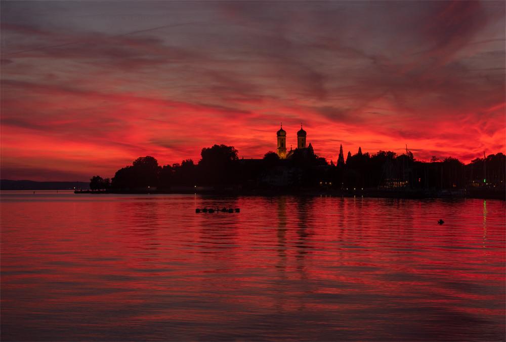 Abendrot im Häfler Hafen